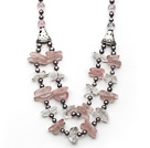 Gray Freshwater Pearl and Double Layer Irregular Shape Clear Crystal and Rose Quarz Necklace