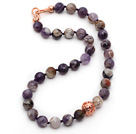 12mm Faceted Round Flower Amethyst Beaded Knotted Necklace with Golden Rose Color Metal Ball