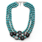 Multi Strands Round Turquoise and Irregular Shape Black and White Agate Necklace with Extendable Chain