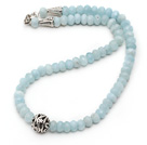 Single Strand Abacus Shape Faceted Aquamarine Necklace with Round Metal Ball