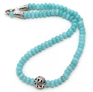Single Strand Abacus Shape Faceted Blue Jade Necklace with Round Metal Ball
