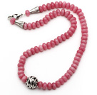 Single Strand Abacus Shape Faceted Pink Jade Necklace with Round Metal Ball