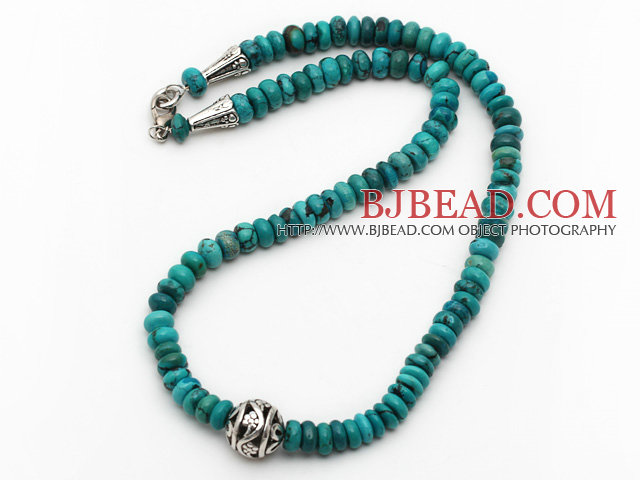 Single Strand Abacus Shape Natural Turquoise Necklace with Round Metal Ball