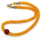 Single Strand Abacus Shape Synthetic Chanterelle Yellow Beeswax Necklace