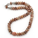 Single Strand Abacus Shape Sunstone Necklace with Metal Accessory