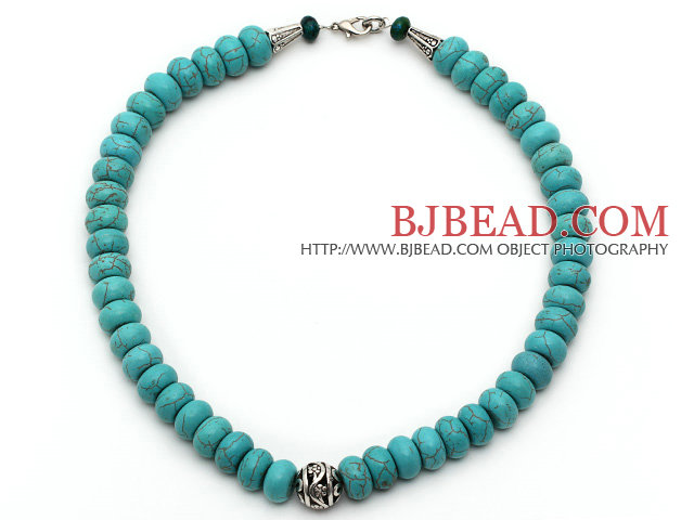 Single Strand Abacus Shape Turquoise Necklace with Round Metal Ball