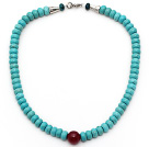 Single Strand Abacus Shape Xinjiang Turquoise Beaded Necklace with Carnelian