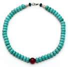 Abacus Shape Xinjiang Turquoise Beaded Necklace with Carnelian