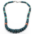 Medium Long Style Disc Shape African Turquoise Graduated Necklace under $ 40
