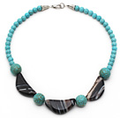Assorted Turquoise and Half Moon Shaped Black Agate Necklace