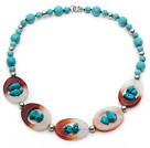 Assorted Turquoise and Agate Donut Necklace with Metal Spacer Beads