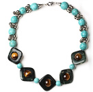 Assorted Turquoise and Tiger Eye and Network Stone Necklace with Metal Spacer Beads under $ 40