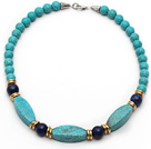 Single Strand Turquoise and Lapis Necklace with Metal Spacer Beads