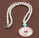 Fashion Nautral Gray Freshwater Pearl Donut Shape Rose Quartz Pendant Necklace