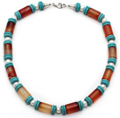 Cylinder Shape Carnelian and White Freshwater Pearl and Turquoise Necklace