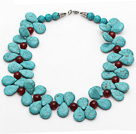 New Design Fashion Style Teardrop Turquoise and Carnelian Necklace under $ 40
