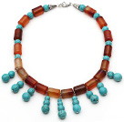 Cylinder Shape Carnelian and Round Turquoise Necklace with Lobster Clasp