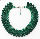 Elegant Style Faceted Green Agate Crocheted Graduated Choker Necklace with Extendable Chain
