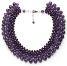 Elegant Style Purple Color Faceted Amethyst Graduated Choker Necklace with Extendable Chain under $ 40
