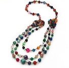 Multi Layer Multi Color Multi Stone and Crystal and Agate Necklace