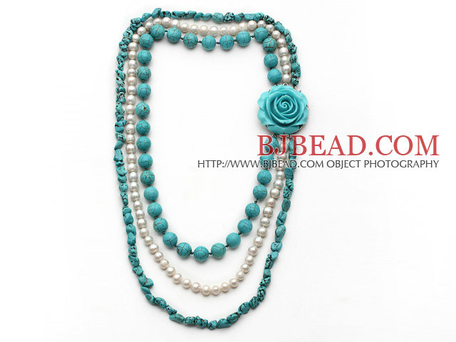 Multi Strands White Freshwater Pearl and Turquiose Necklace with Turquoise Flower Clasp