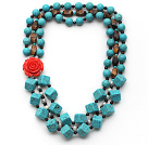 Multi Strands Square Shape Turquoise and Garnet and Tiger Eye and White Pearl Necklace