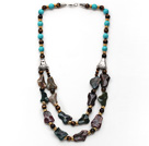 Double Layer Turquoise and Tiger Eye and Irregular Shape Indian Agate Necklace