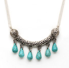 Simple Style Teardrop Shape Turquoise Necklace with Tibet Silver Tube Accessory under $ 40