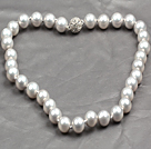 Fashion Single Strand 12Mm Grey Round Seashell Beads Necklace With Rhinestone Magnetic Clasp