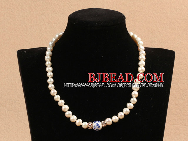 Best Mother Gift Graceful Natural White Pearl Blue And White Porcelain Bead Party Necklace With Heart Clasp
