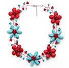 New Design Turquoise and Alaqueca and Red Coral Flower Wire Crocheted Necklace with Extendable Chain under $ 40