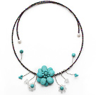 Turquoise Flower Choker Necklace with White Pearl and White Crystal and Gray Black Glass Beaded Chain under $ 40
