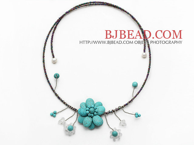 Turquoise Flower Choker Necklace with White Pearl and White Crystal and Gray Black Glass Beaded Chain