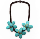Elegant Style Turquoise Flower Necklace with Brown Color Bold Thread