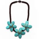Elegant Style Turquoise Naszyjnik z kwiatów koloru Bold Brown Temat