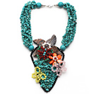 Amazing Style Turquoise Chips Necklace with Cats Eye and Rose Quartz and Carnelian Butterfly and Shell Flower under $ 40
