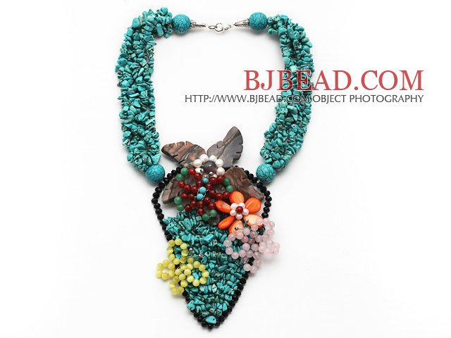 Amazing Style Turquoise Chips Necklace with Cats Eye and Rose Quartz and Carnelian Butterfly and Shell Flower