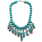 Assorted Turquoise and Red Coral Tassel Bib Necklace with Metal Clasp