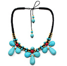 Turquoise and Alaqueca and Yellow Color Metal Beads Necklace with Black Thread under $ 40
