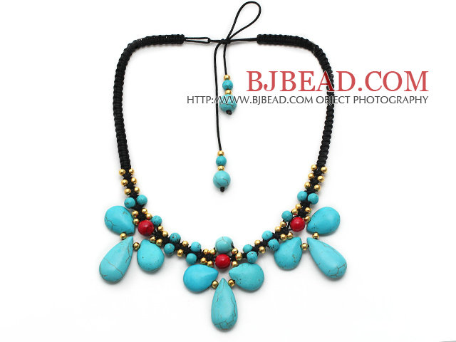 Turquoise and Alaqueca and Yellow Color Metal Beads Necklace with Black Thread