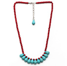 Assorted Red Coral and Teardrop Turquoise Necklace with Extendable Chain