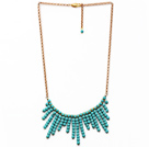 Fashion Style Turquoise Tassel Necklace with Golden Color Metal Chain
