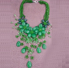 Gorgeous Statement Multi Layer Green Series Crystal Agate Flower Party Necklace