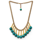 Fashion Style Turquoise Tassel Necklace with Golden Color Metal Chain and Extendable Chain under $ 40