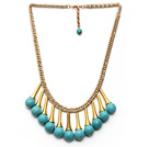 Burst Pattern Turquoise Tassel Necklace with Golden Color Metal Chain and Extendable Chain under $ 40