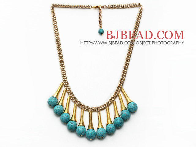 Burst Pattern Turquoise Tassel Necklace with Golden Color Metal Chain and Extendable Chain