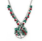 Assorted Red Coral and Clear Crystal and Turquoise Necklace with Life Tree Pendant and Metal Chain under $ 40