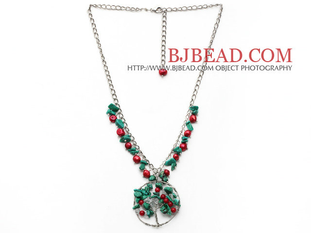 Assorted Red Coral and Clear Crystal and Turquoise Necklace with Life Tree Pendant and Metal Chain