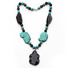 Assorted Turquoise and Tiger Eye and Irregular Shape Black Agate Necklace with Agate Pendant