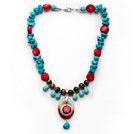 Assorted Turquoise and Tiger Eye and Red Coral and Agate Necklace under $ 40